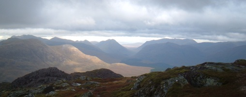 Looking North from Beinn Sgulaird to the peaks of Glencoe and the Black Mount